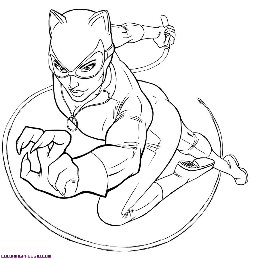 Catwoman coloring pages to download and print for free