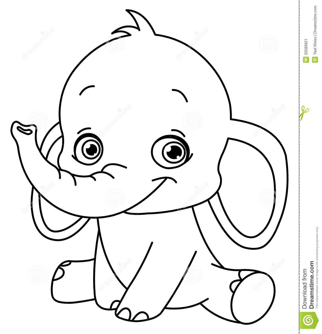 baby elephant coloring pages print - photo#2