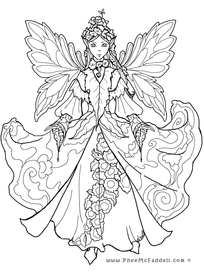 Fairy coloring pages for adults to download and print for free