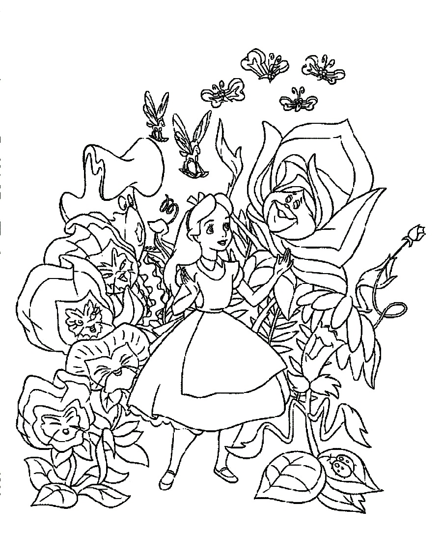 Alice in wonderland coloring pages to download and print for Alice in wonderland tea party coloring pages