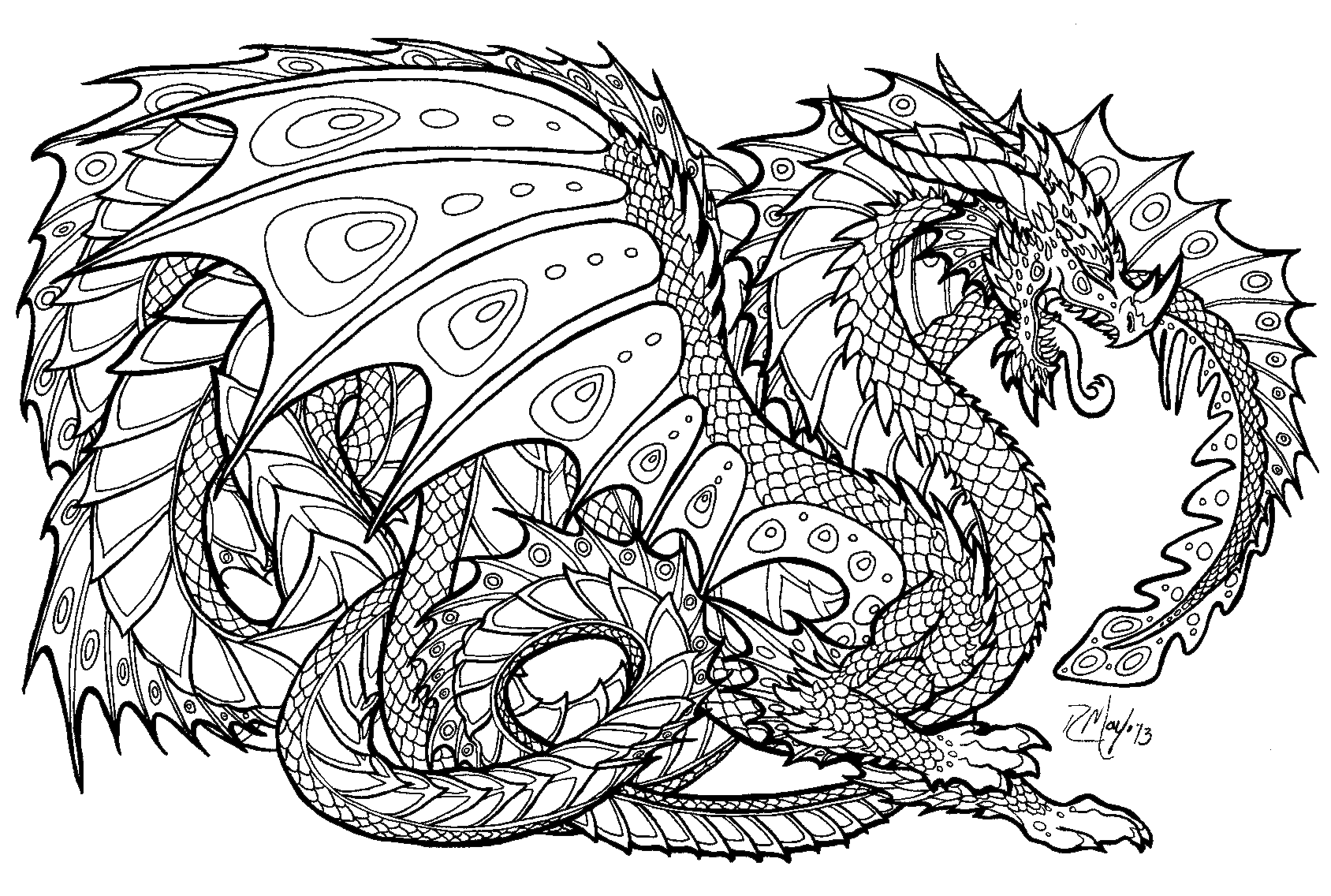 dragon coloring pages for adults to and print for free