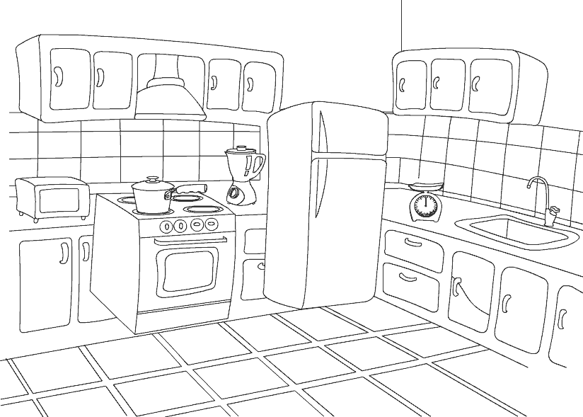 Kitchen coloring pages to download and print for free for O kitchen city of dreams