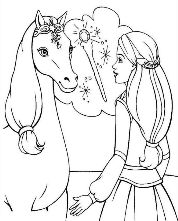 Барби на лошади раскраска