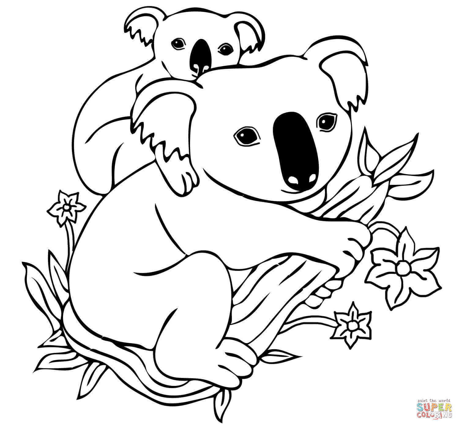 koala coloring pages to download and print for free