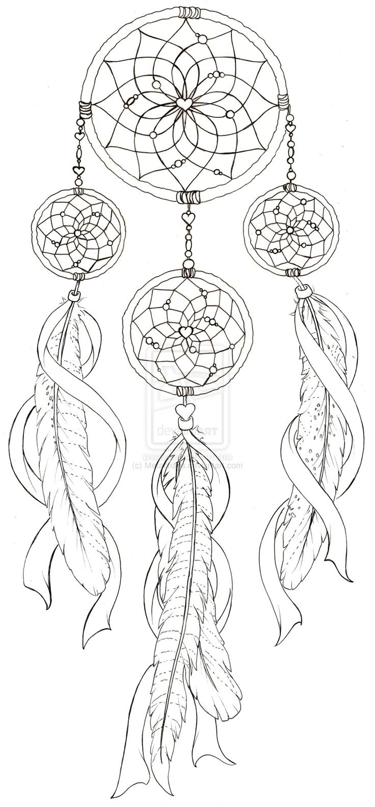 dreamcatcher tattoo template - dream catcher coloring pages to download and print for free