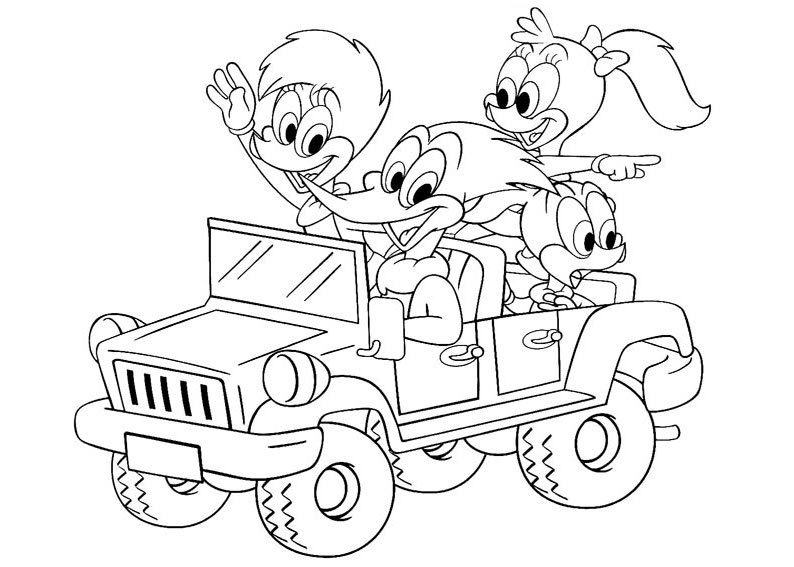 Woody Woodpecker coloring pages to download and print for free