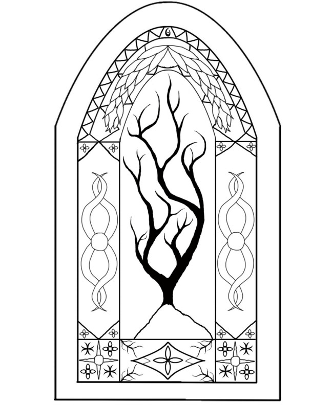 Medieval stained glass coloring