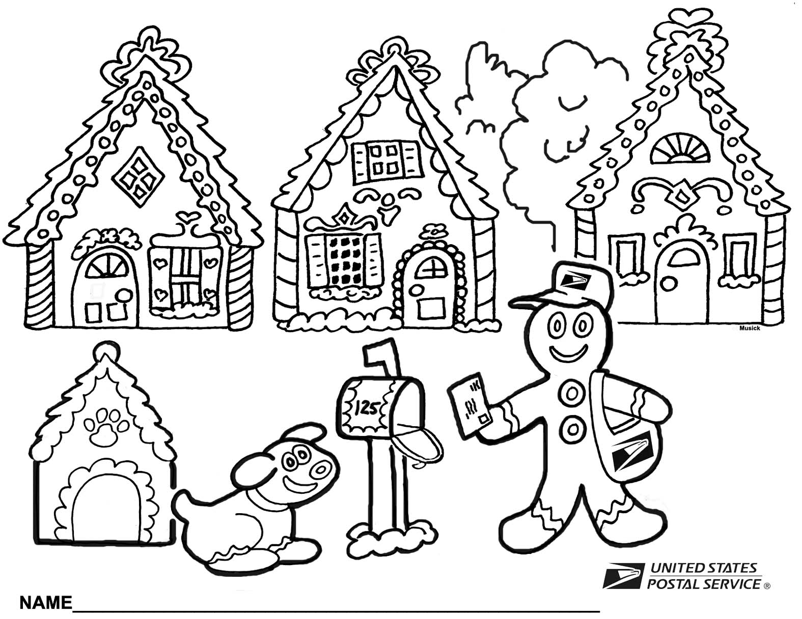 Christmas gingerbread coloring pages download and print ...