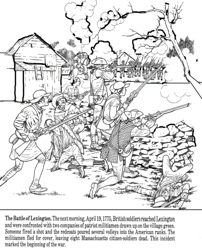 Revolutionary war coloring pages to download and print for free