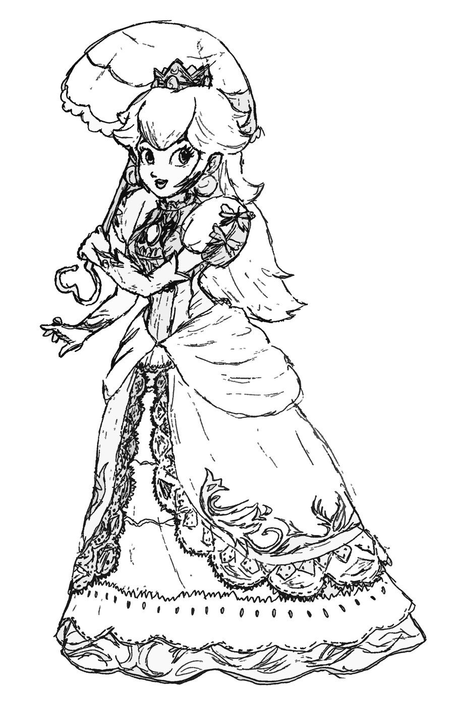 Princess peach coloring pages to
