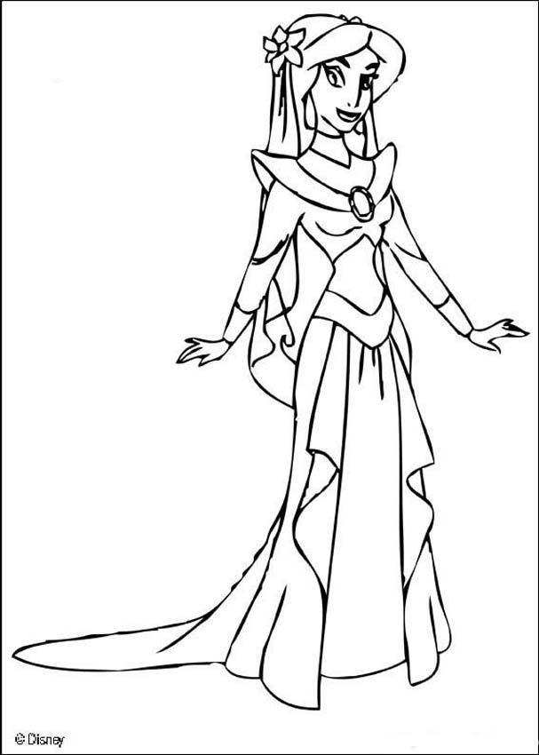 Princess jasmine coloring pages to download and print for free