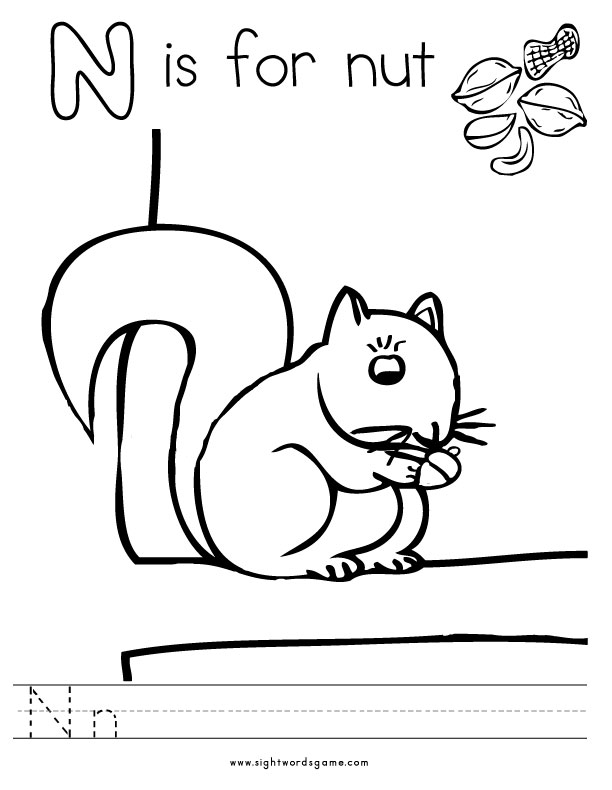 Colouring Pages For Letter N Coloring To Download And Print Free
