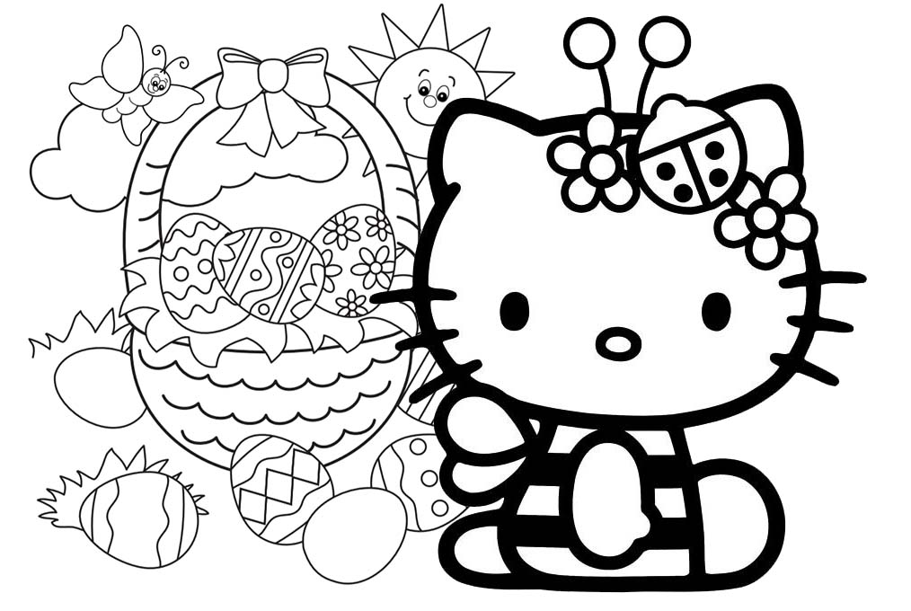 hello kitty easter coloring pages - Coloring Pages Kitty Easter