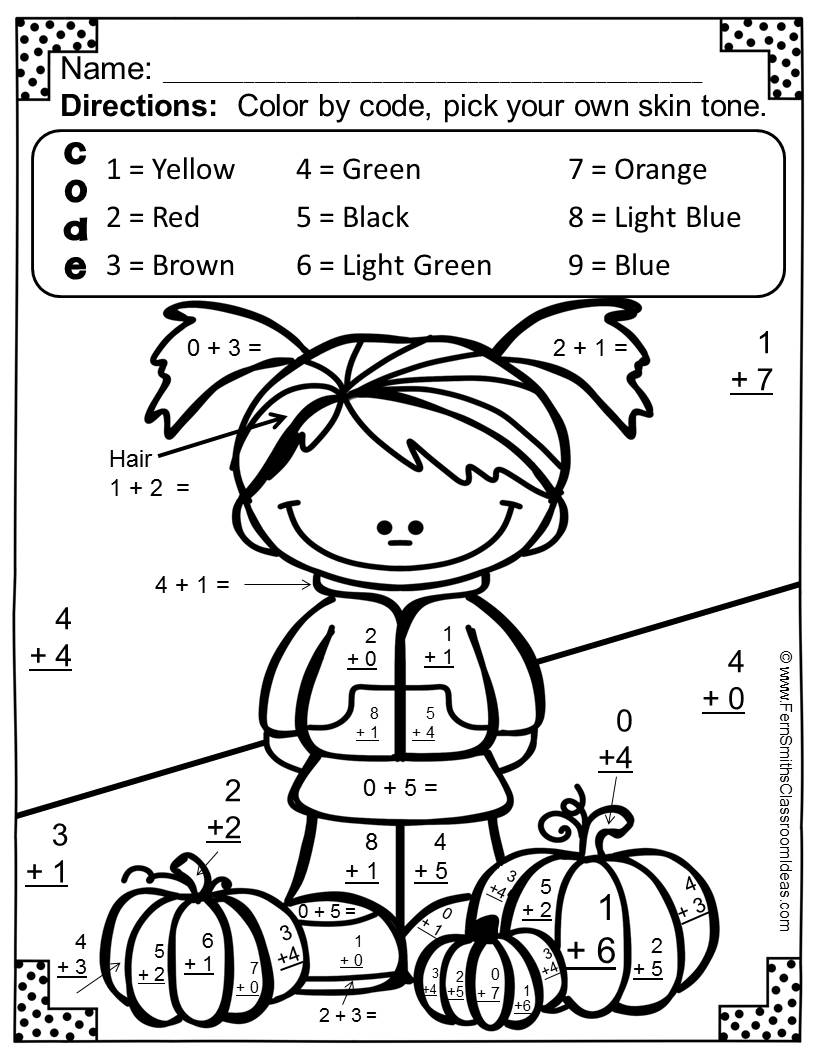 Halloween Coloring Pages For Third Graders : Addition Coloring Sheets For Third Grade addition coloring pages first grade kids halloween ...