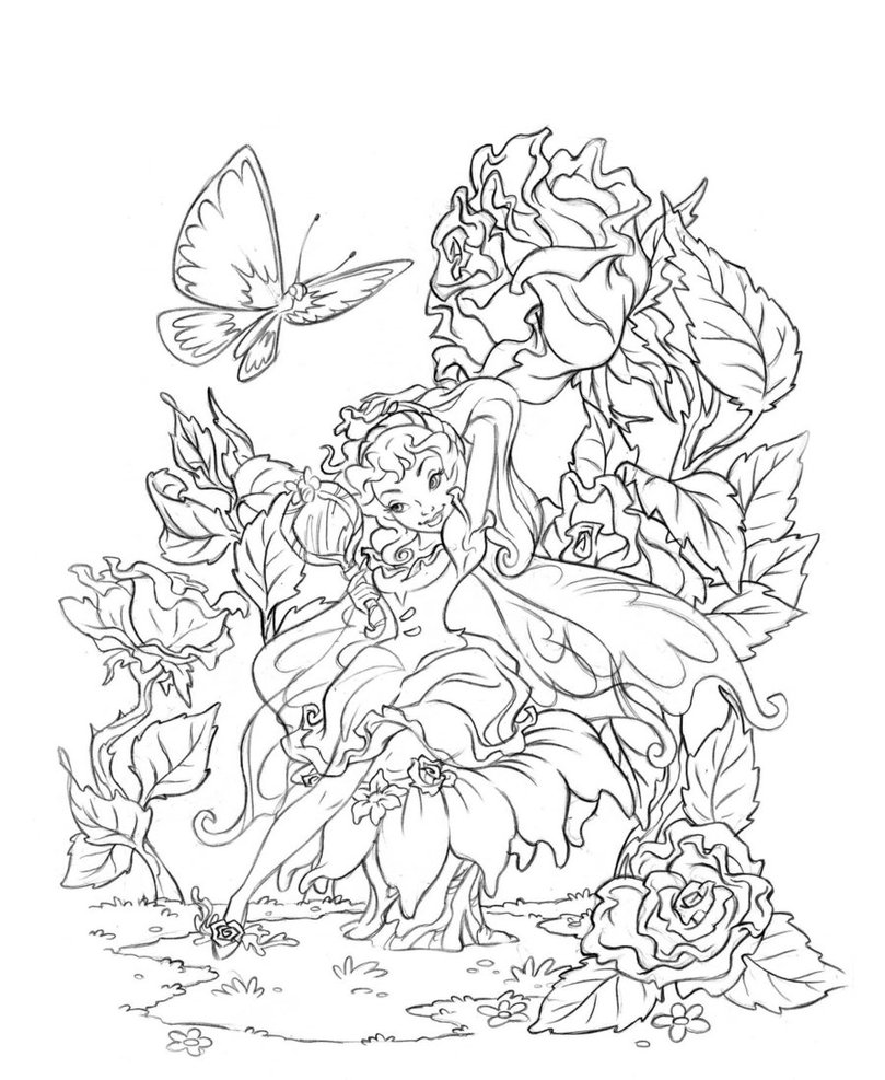 Adult coloring pages free to print fairies - Fairy Coloring Pages For Adults