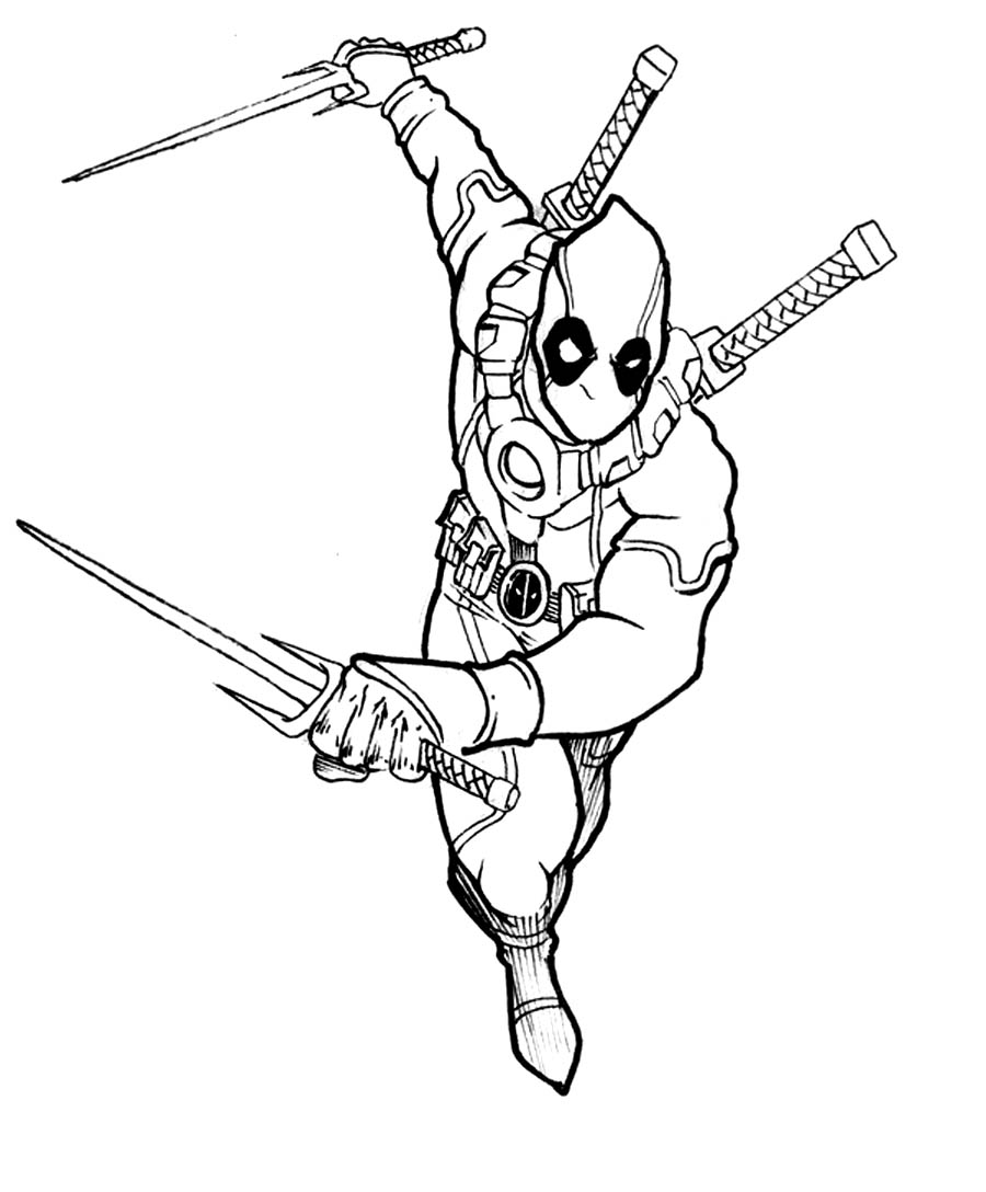 Deadpool coloring pages to download and print for free