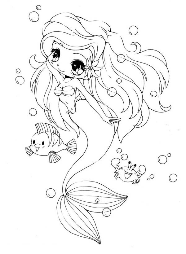 Chibi coloring pages to download and print for free for Boy mermaid coloring page