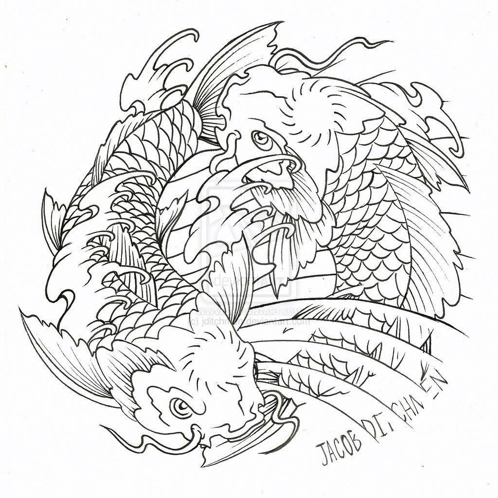 Coloring pages koi fish - Koi Fish Coloring Pages
