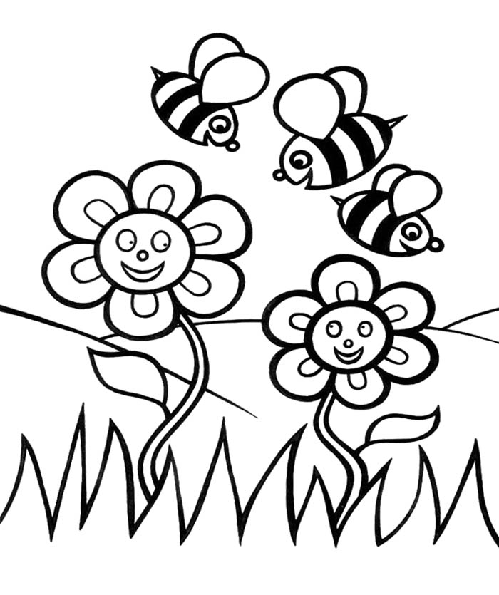 Spring flower coloring pages to