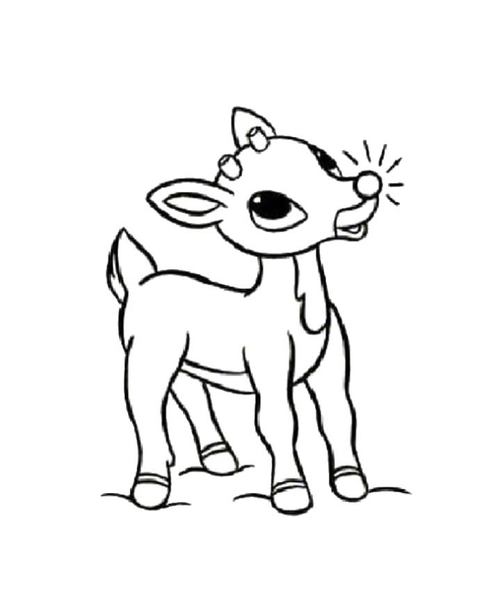 reindeer coloring pages free | Baby reindeer coloring pages download and print for free