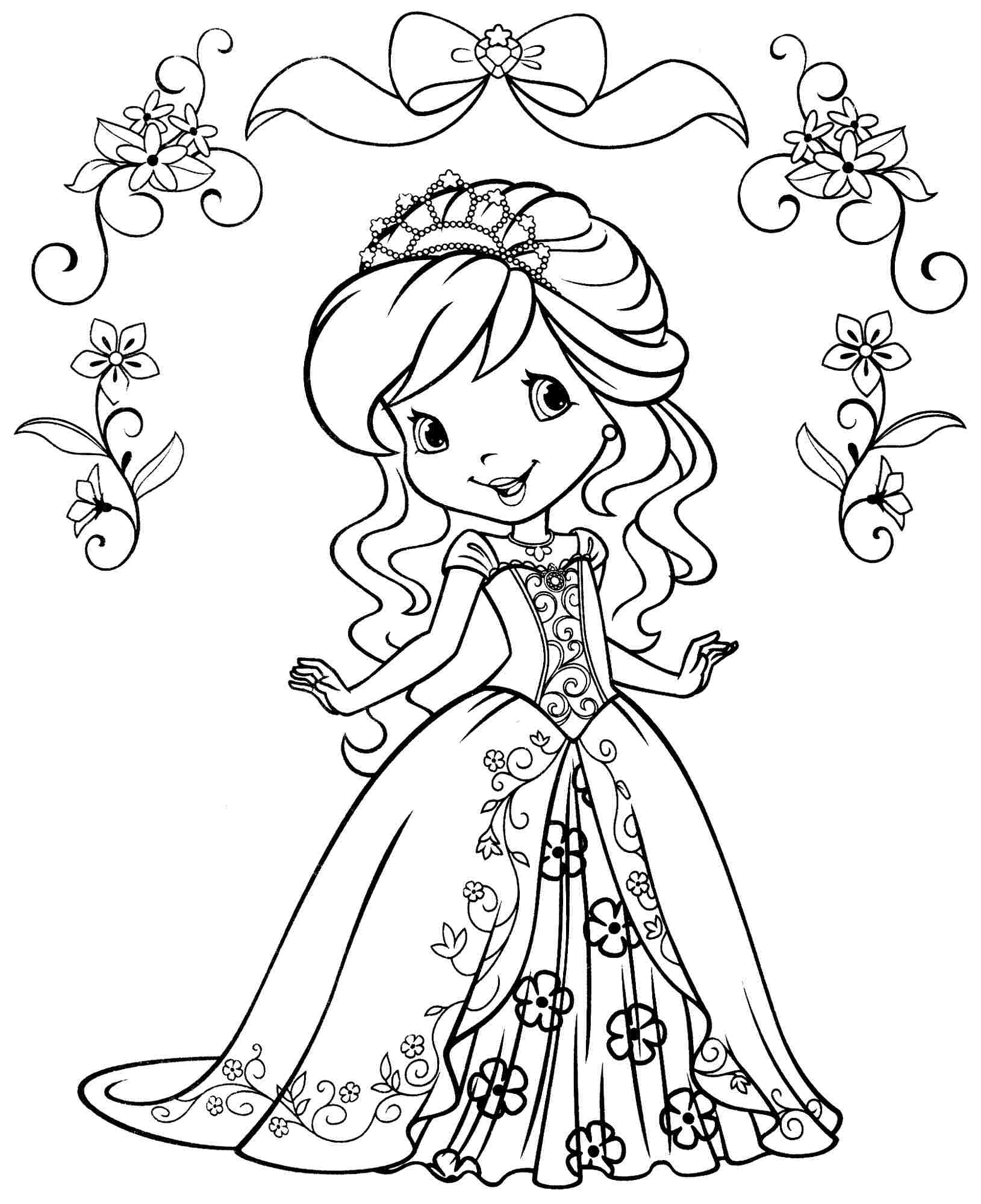 Coloring Pages For Girls: Strawberry Shortcake Valentine Coloring Pages Download And