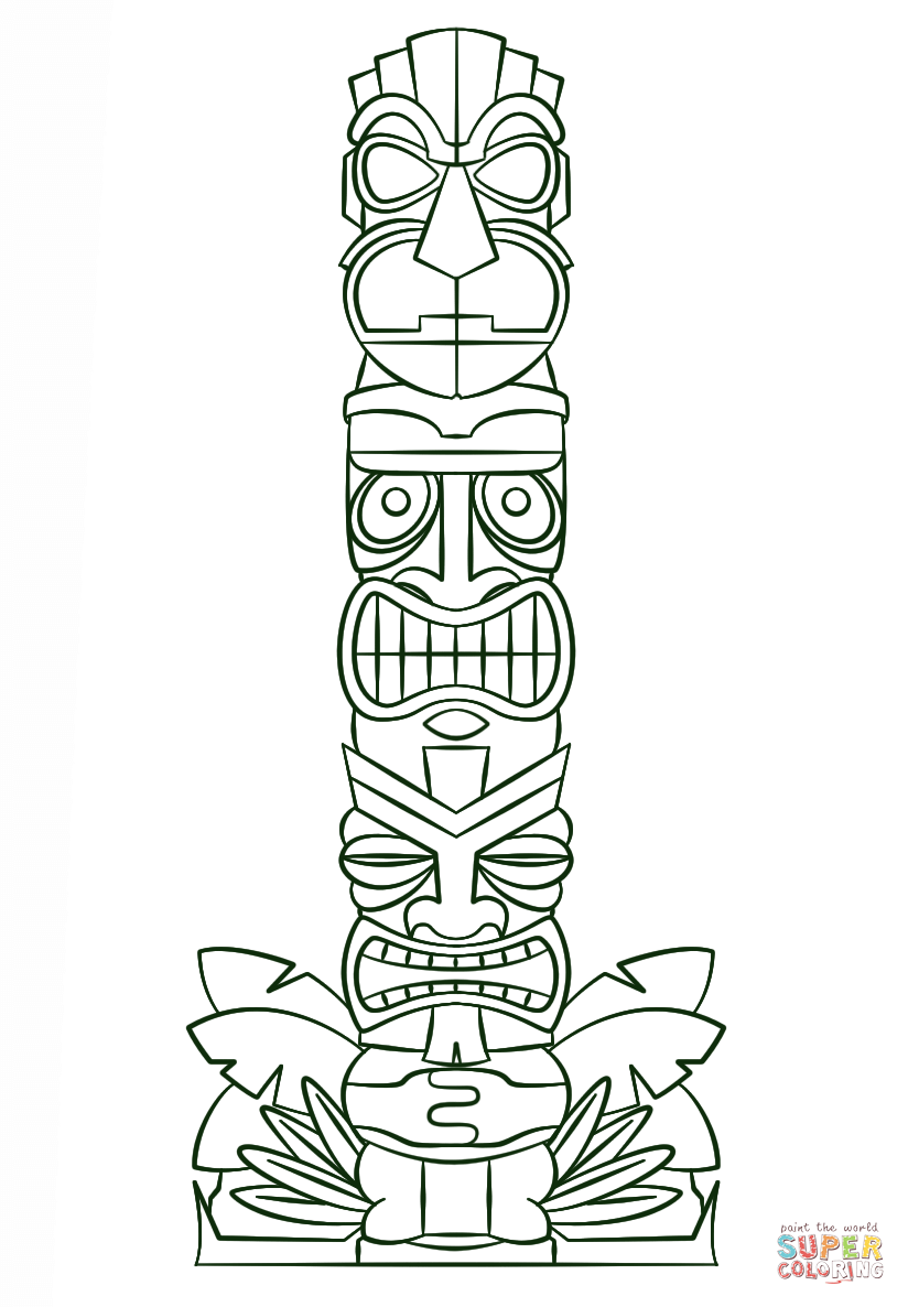 Hawaiian Tiki Mask Coloring Pages Download And Print For Free Tiki Coloring Pages
