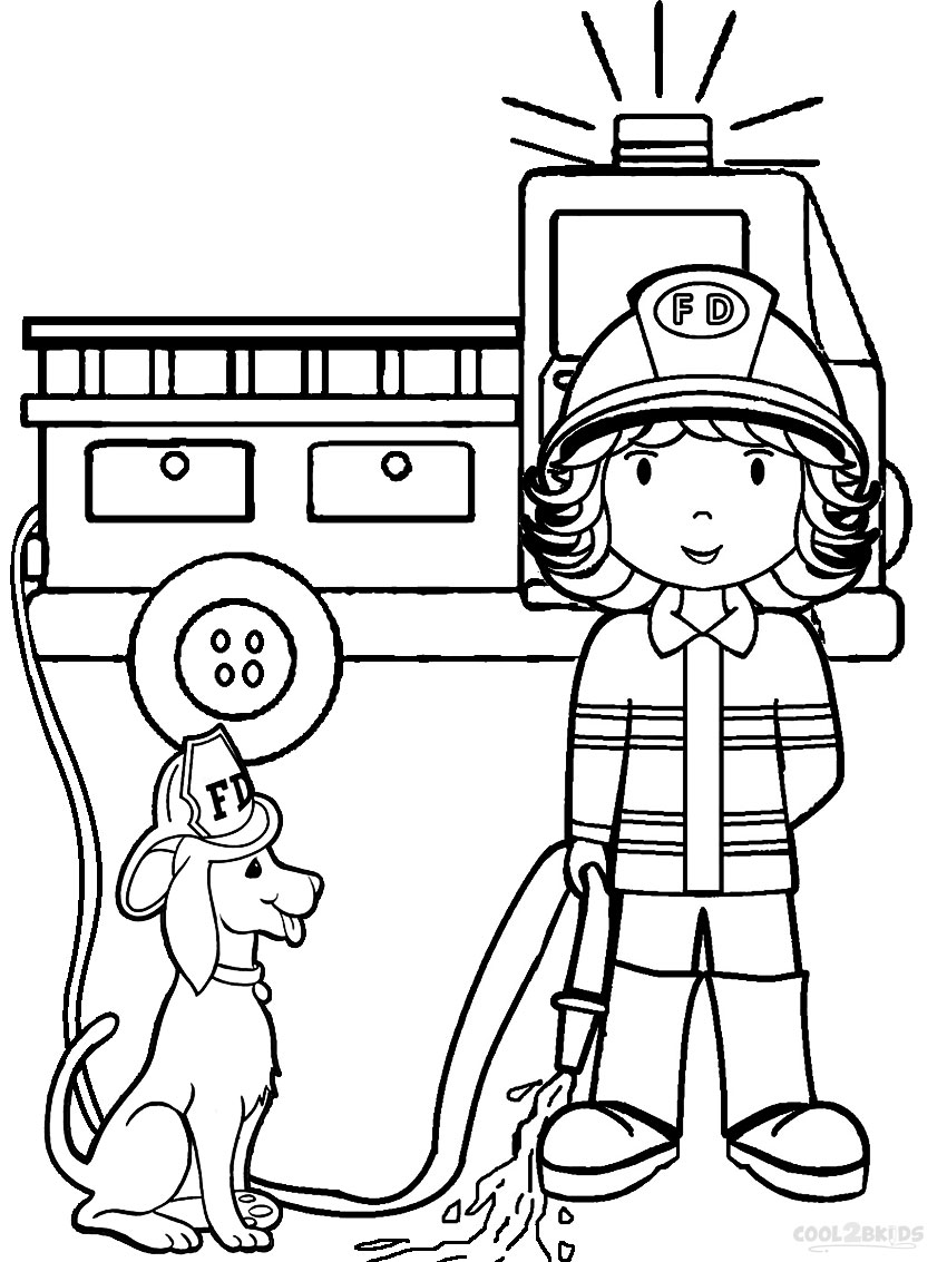 firefighter coloring pages for kids - photo#35