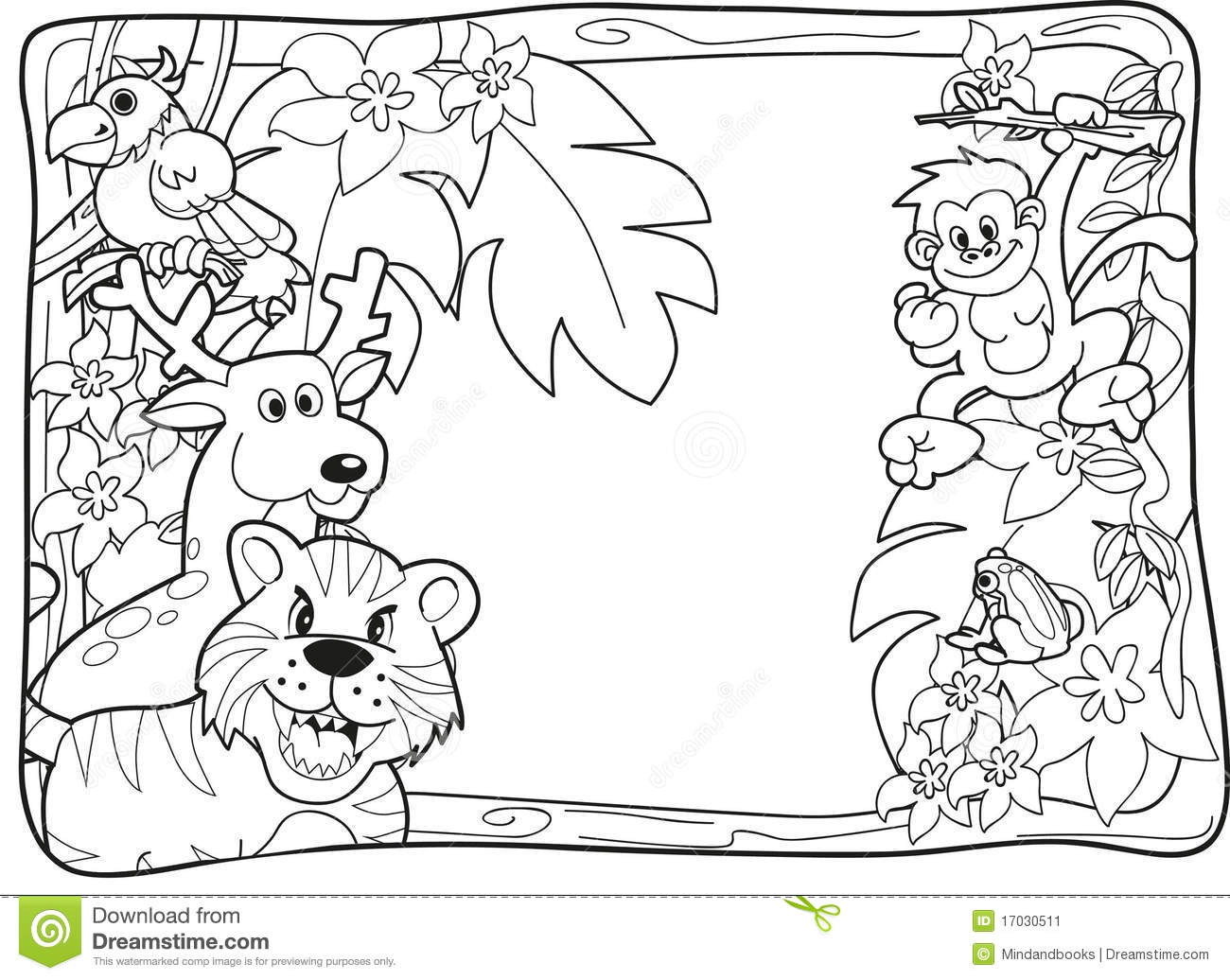 Jungle animal coloring pages to