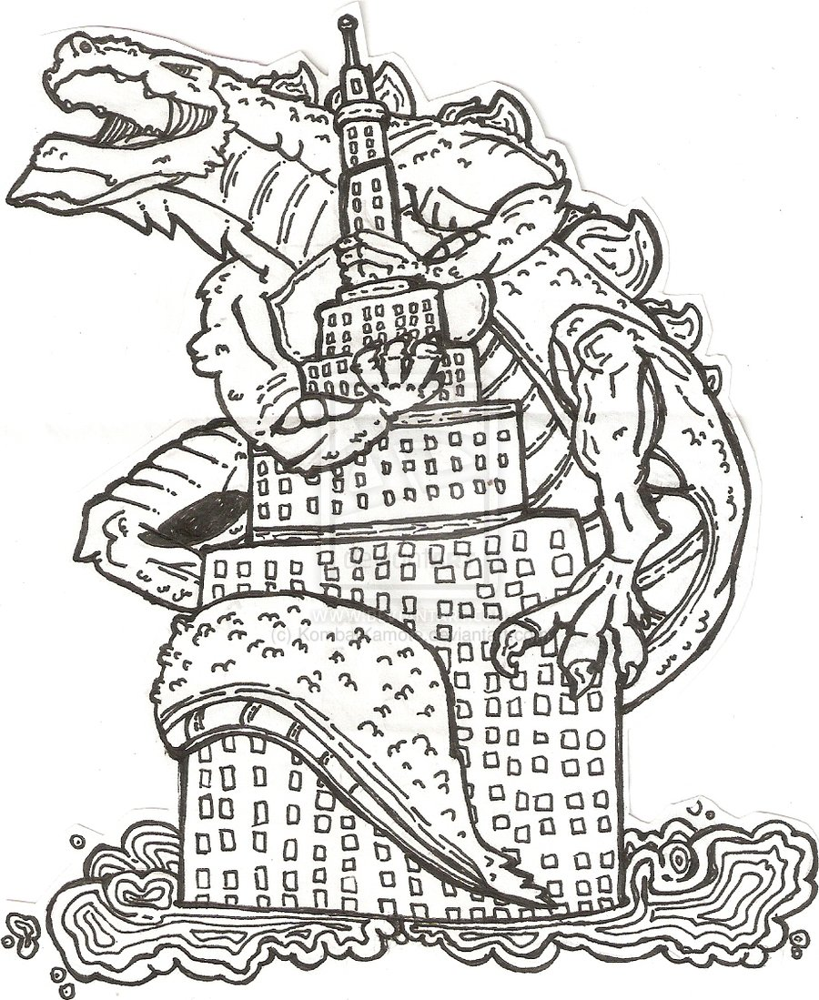 Free coloring pages godzilla