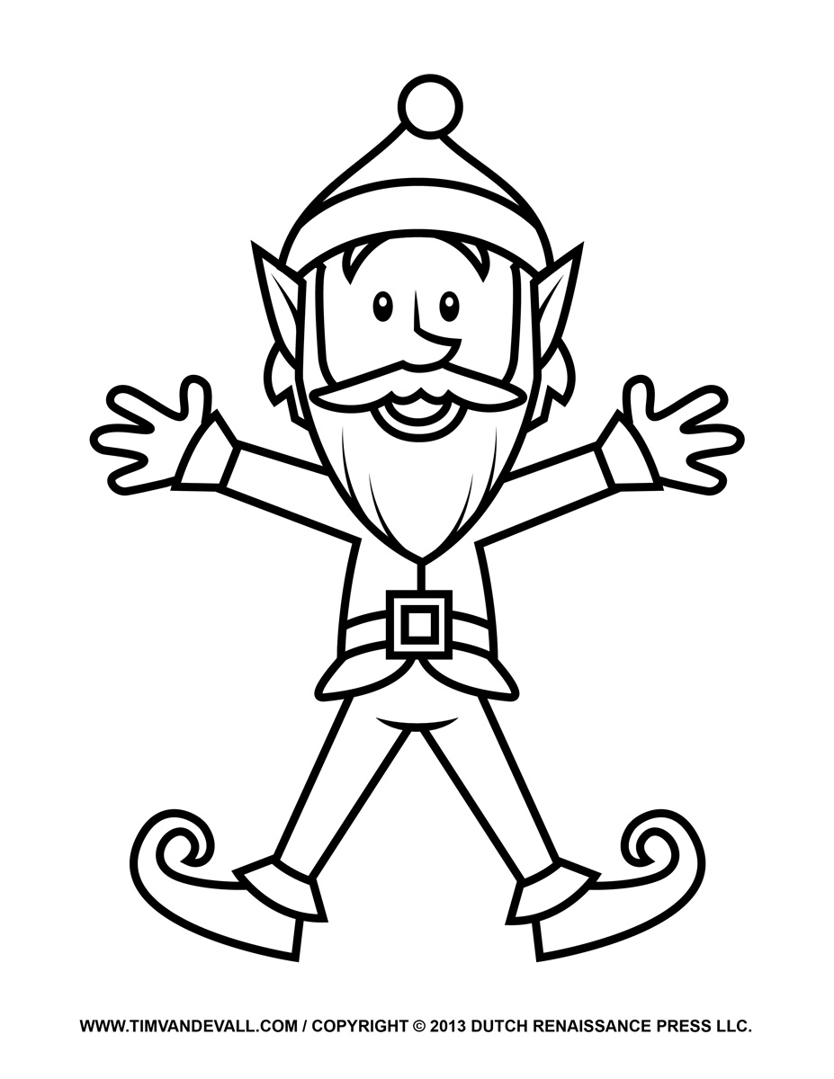 Printable coloring pages elf on the shelf - Elf Coloring Pages