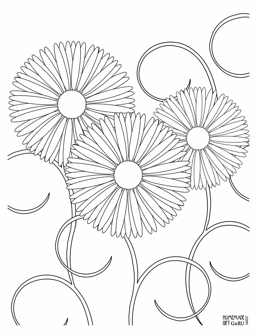detailed flower coloring pages - Free Flower Coloring Pages