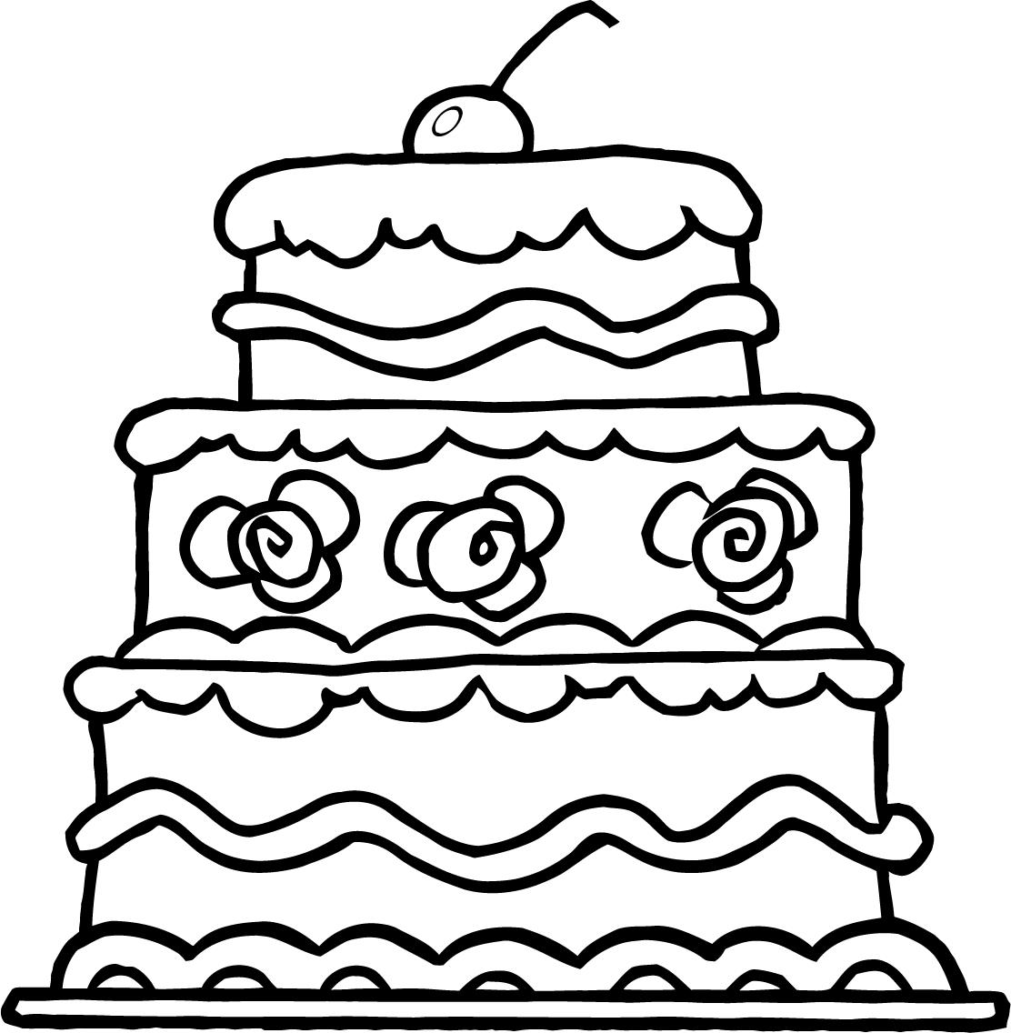 Cake coloring pages to download