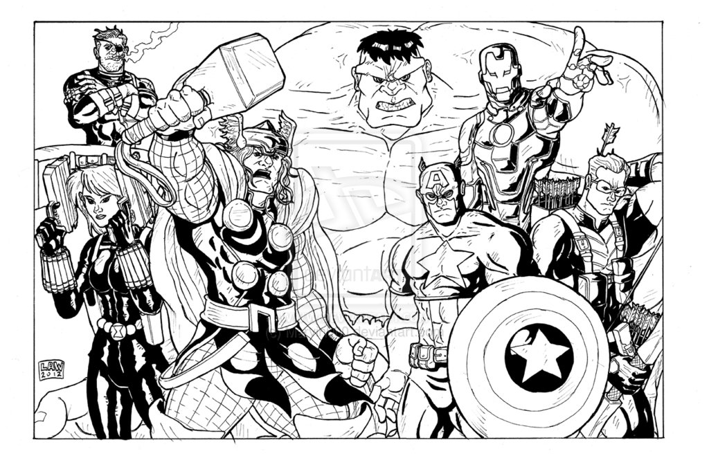 The avengers coloring pages to