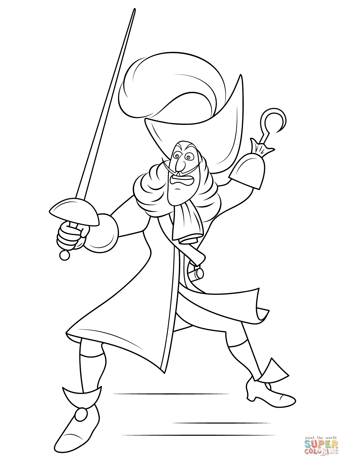 Captain hook coloring pages to download and print for free for Disegni peter pan