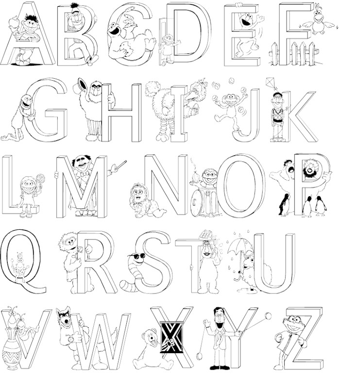 Coloring Book Pages Alphabet : A z alphabet coloring pages download and print for free