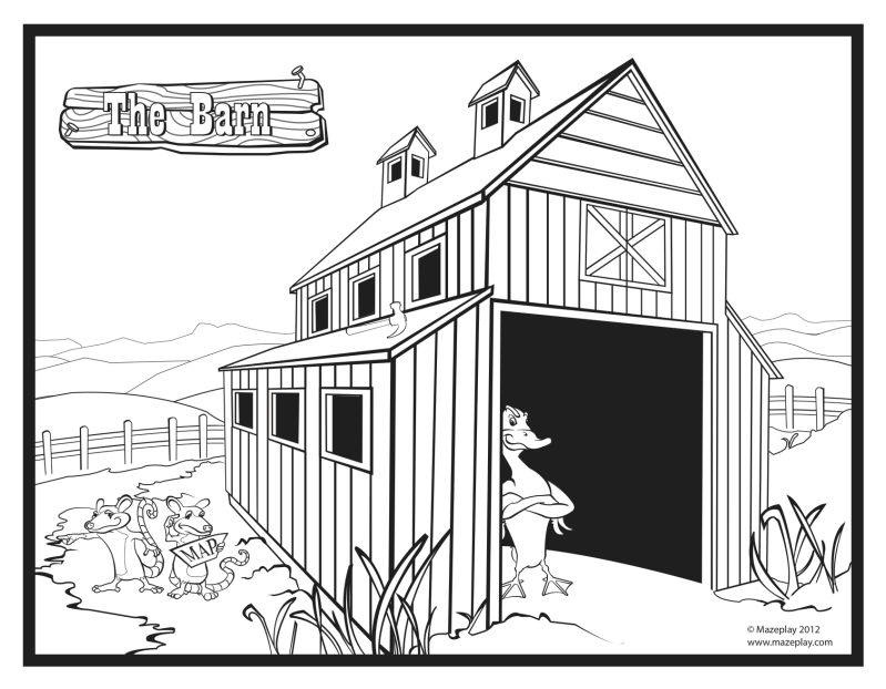 It's just a picture of Delicate Barn Coloring Sheet