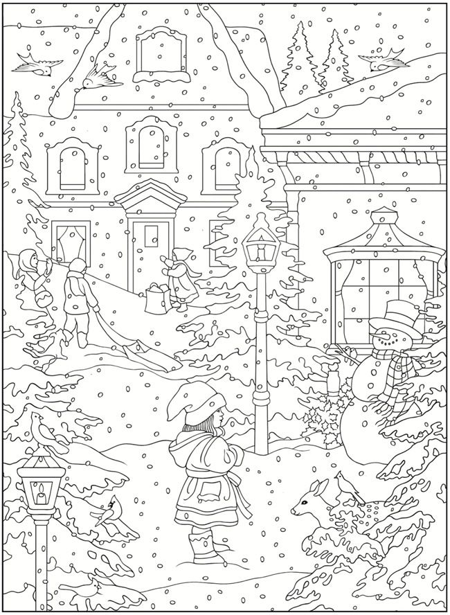 Village scene coloring pages download