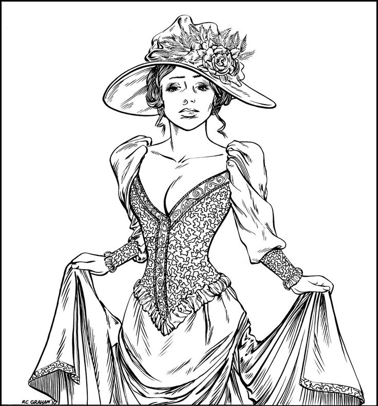 Victorian Coloring Pages Victorian Woman Coloring Pages Download And Print For Free