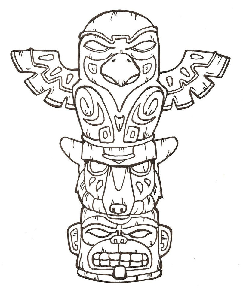 tiki masks coloring pages - photo#12