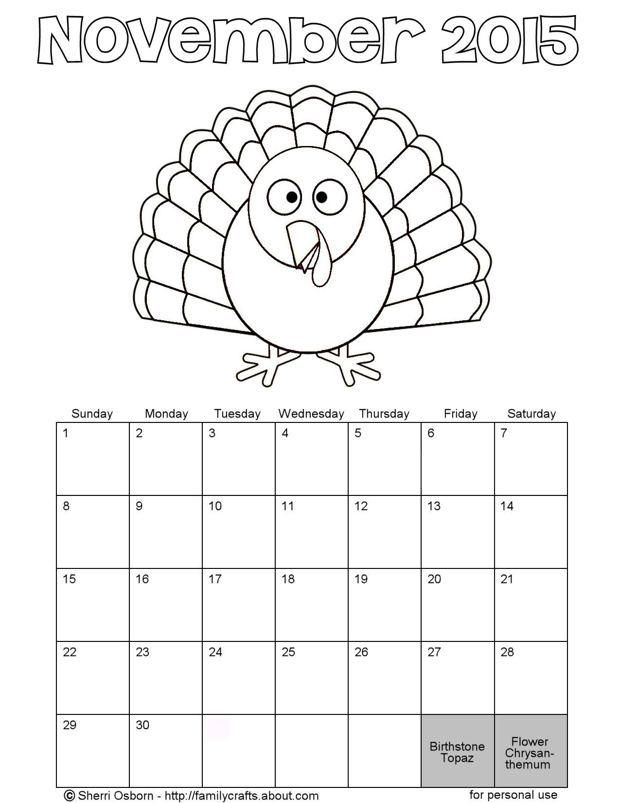 Monthly calendar coloring pages