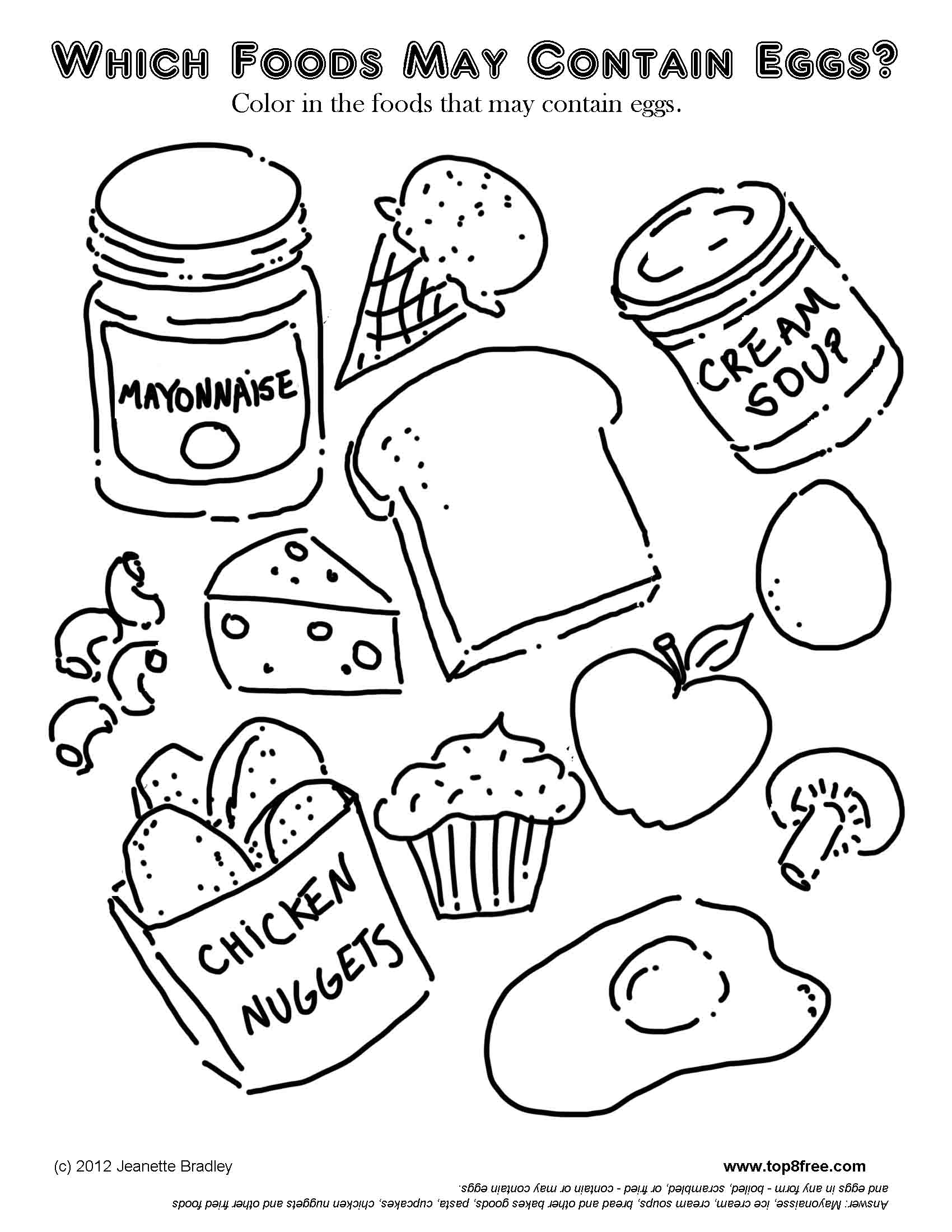nutrition coloring pages food and