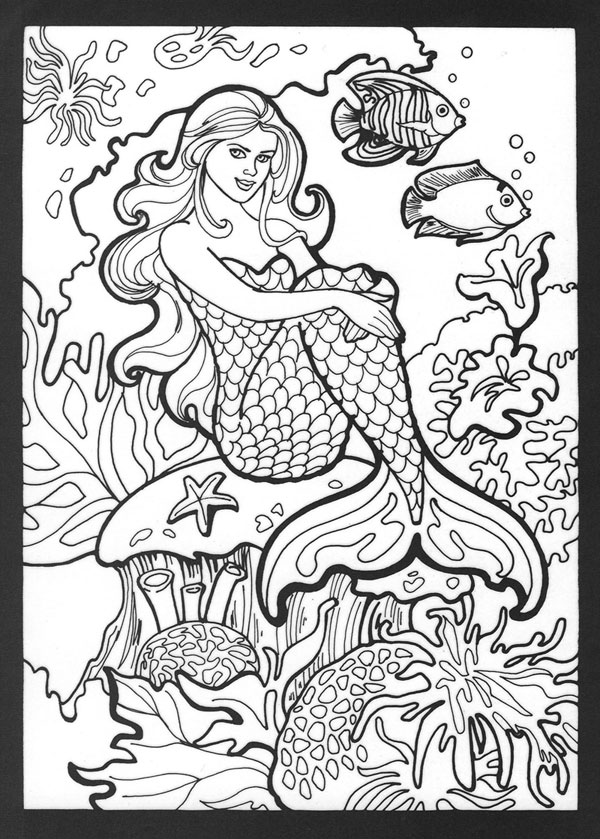 mermaid coloring pages - Mermaid Coloring Pages For Kids