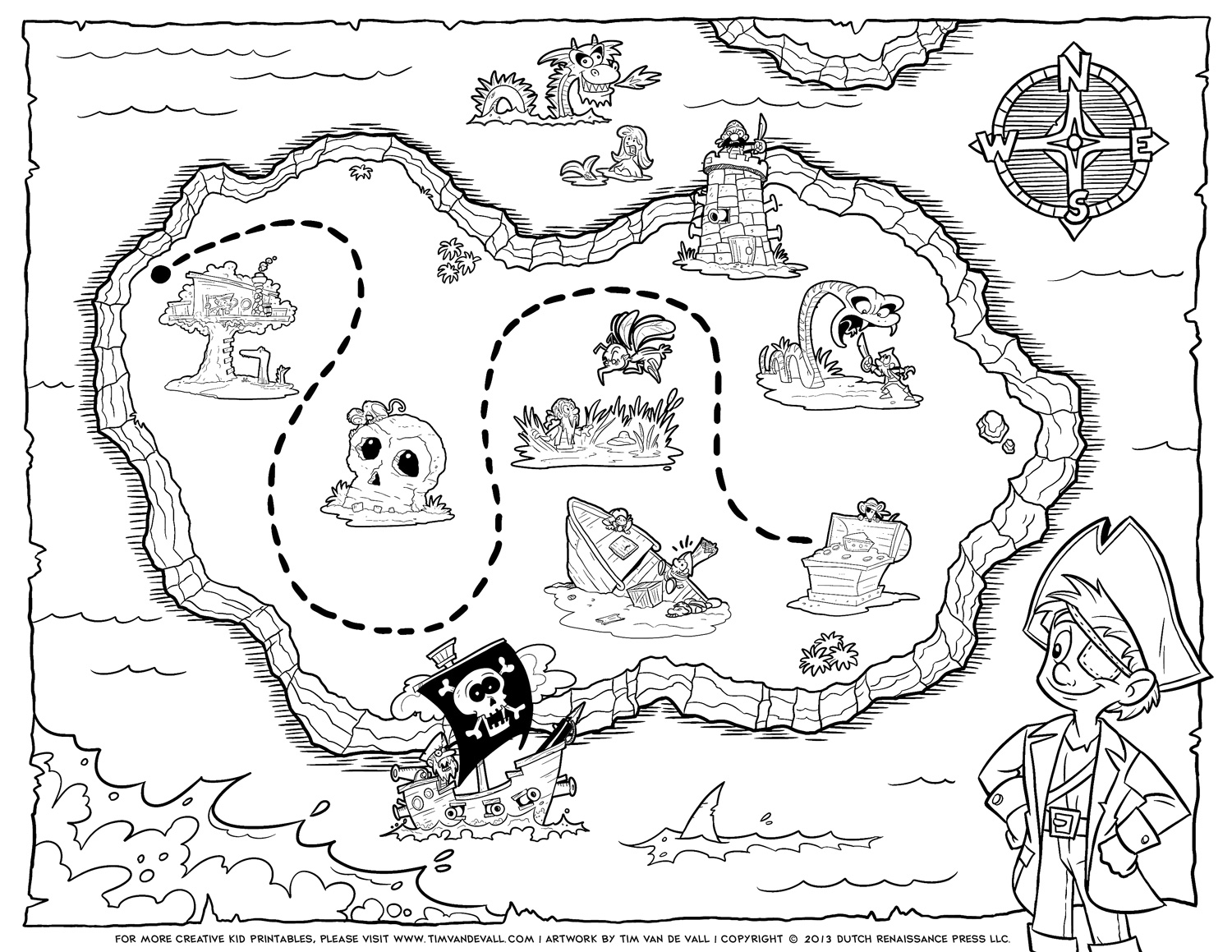 map coloring pages to download and print for free