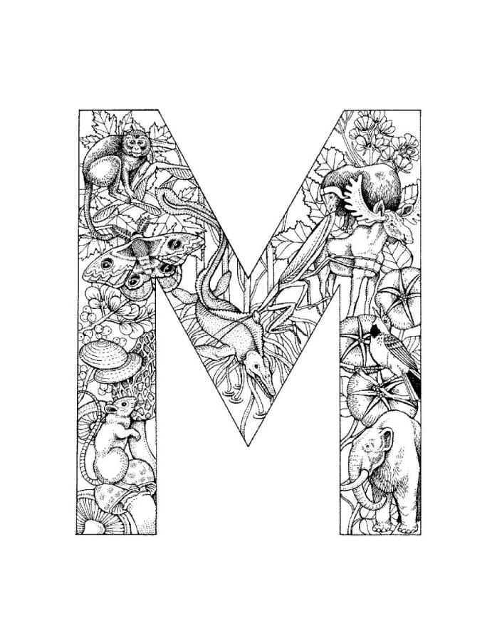Letter m coloring pages to and print for free
