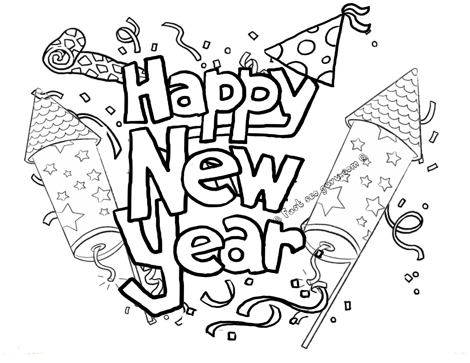 Free coloring pages new year's day