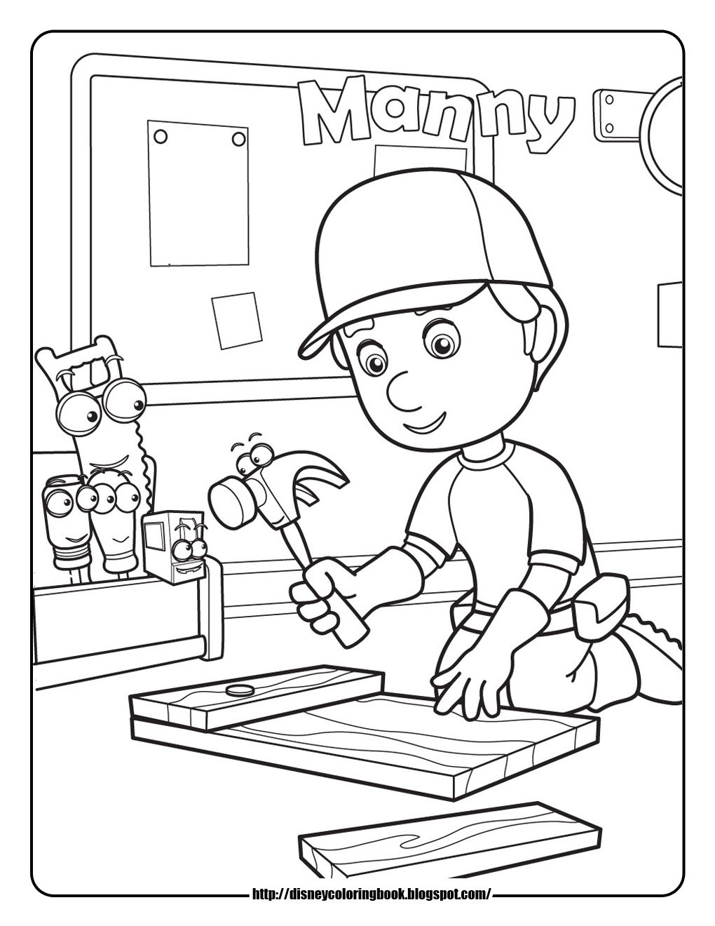 magnificent handy manny tools coloring pages with - Handy Manny Hammer Coloring Pages