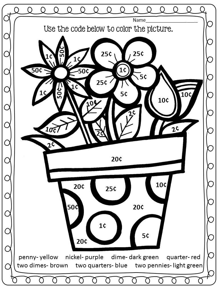 Addition Coloring Sheets For Third Grade math coloring