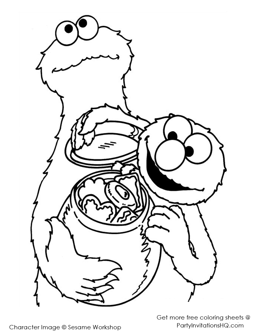Cookie monster coloring pages to download and print for free for Monster coloring pages