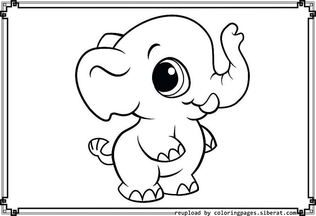Baby elephant coloring pages to download and print for free for Baby animal coloring page