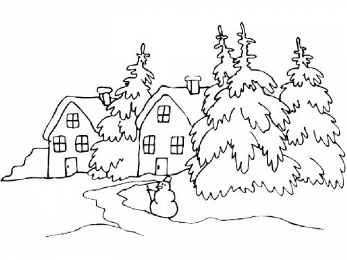 Winter landscape coloring pages to download and print for free for Disegni di natale facili per bambini